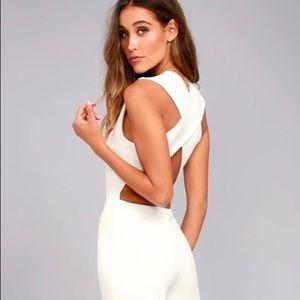 Lulus white backless jumpsuit